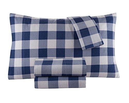 DELANNA Flannel Sheet Set 100% Cotton (Full, Buffalo Navy)