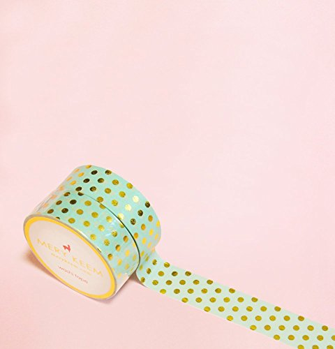 Teal Color with Polka Dots in Gold Foil Washi Tape for Planning • Scrapbooking • Arts Crafts • Office • Party Supplies • Gift Wrapping • Colorful Deco…