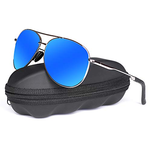 Polarized Aviator Sunglasses for Men - goudi Metal Frame driving UV 400 Protection Mens Women Mirror Sunglasses 8002(blue)