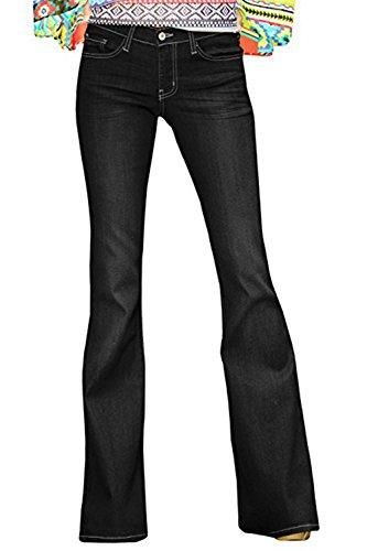 Ferbia Womens High Waist Bell Bottom Jeans Skinny Stretch Wide Leg Flare Denim (Stretch Denim Flare Leg Pants)