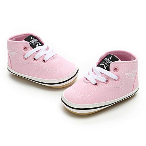 RVROVIC Baby Boys Girls Shoes Canvas Toddler Sneakers Anti-Slip Infant First Walkers 0-18 Months (13cm (12-18months), 6-Pink) by RVROVIC (Image #4)