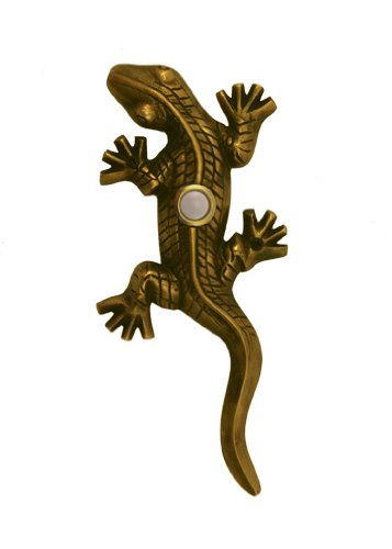 Gecko Doorbell - Brass Gecko Doorbell in Antique Brass Finish