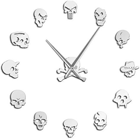 Tbrand Art Decor Different Skull Heads DIY Horror Wall Giant Wall Clock Big Needle Frameless Zombie Heads Large Wall Watch Halloween Silver