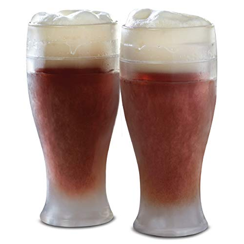 REFINERY AND CO. Cooling Gel Two Pack Beer Glass, Pint Size, Perfect for Instantly Chilling Drinks, Durable Plastic Construction, Store in Freezer for a Cold Brew Anytime