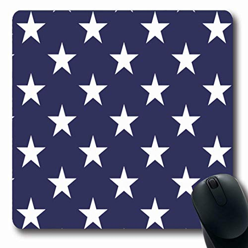 Unity Star - Ahawoso Mousepads for Computers Celebrate Blue American Five Pointed Stars Abstract Unity White America Shape 4Th States Design Oblong Shape 7.9 x 9.5 Inches Non-Slip Oblong Gaming Mouse Pad