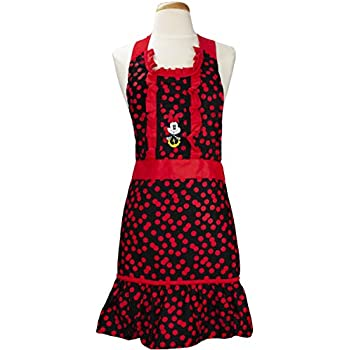 Best Brands Disney Cotton Kitchen Cooking Apron - Printed Minnie- Red & Black - Chef Apron Comfortable and Functional During Any Cooking Experience - 100% Cotton