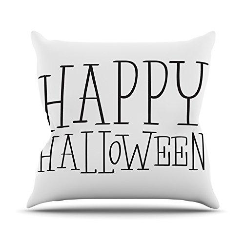 Kess InHouse Kess Original Happy Halloween Throw Pillow White 18 x 18