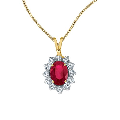 FB Jewels Solid 14k Yellow Gold Genuine Birthstone Oval Ruby Pendant with Diamonds (1.5 (Genuine Red Ruby Oval Pendant)
