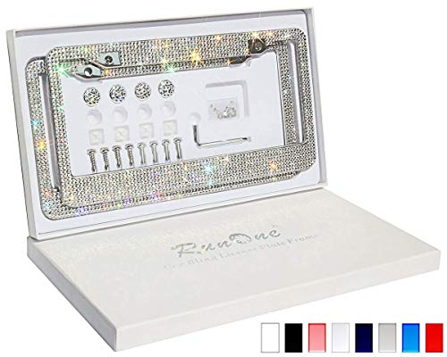 Runone Rhinestone License Plate Frame Bling Car Accessories For Women,Funny Glitter Stainless Steel Cover 1000+ Luxury Cute Crystal Diamond Licenses Plates Holder With Giftbox Cap Screws Set (Crystal)