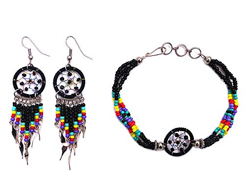 Mia Jewel Shop Handmade Native American Style Tribal Dream Catcher Seed Bead Multi Strand Bracelet Dream Catcher Long Beaded Dangle Earrings Jewelry Set (Black)