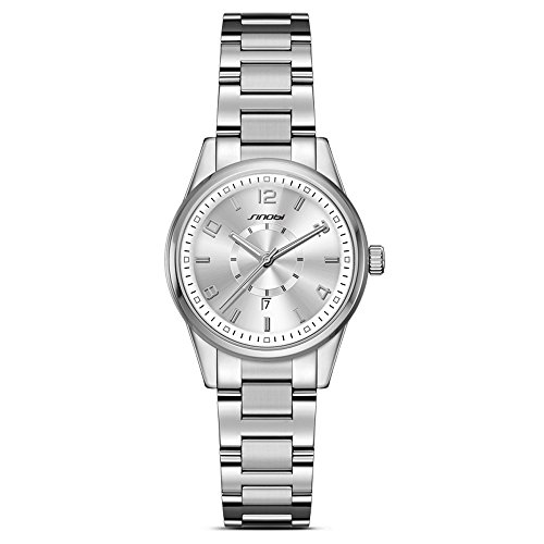 Quartz Silver Wrist Watch (Women Easy Reader Date Expansion Watch Ladies Quartz Clock Female Bracelet Quartz Wrist Watch (Silver))
