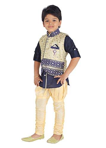 KLAUD ZEE Kids Ethnic Baby Boys' Indo Western Silk Festive and Party Wear Sherwani, Payjama Waistcoat Pant Set 6-7 Years, NAvy by KLAUD ZEE (Image #1)