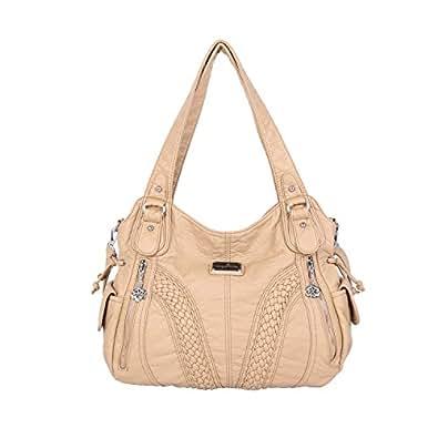 Angelkiss 2 Top Zippers Closure Multiple Pockets Purses and Handbags Soft Leather Shoulder bags Women Satchel Handbag 1555 (Beige)
