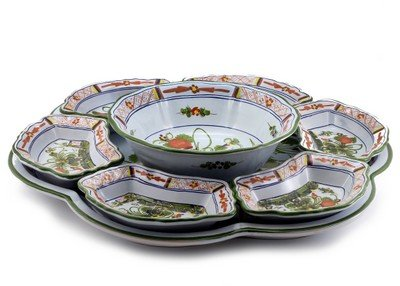 FAENZA: Modular Snack/Appetizer Tray with center Bowl by FAENZA