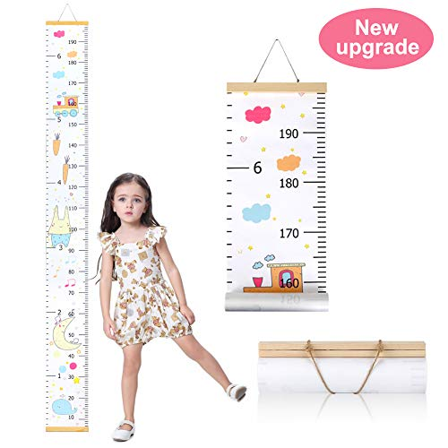 Wall Growth Chart, Canvas and Wood Growth Chart for Kids, Perfect Wall Decor Piece for Kids Room, Baby Room, Nursery, Bedroom, Height Measurement Ruler for Children ()