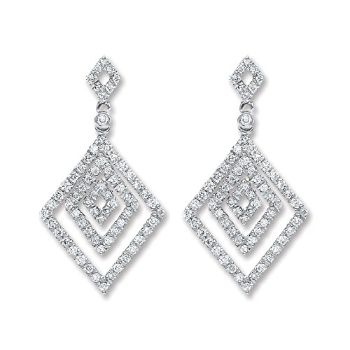 Jareeya - 18 ct Or blanc 0,50 CT Diamant Pendants d'oreilles