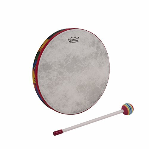 Remo Kid's Percussion 14 inch Hand Drum in Rainforest Design (Age 5+) (10 Inch Concert Tom Set)
