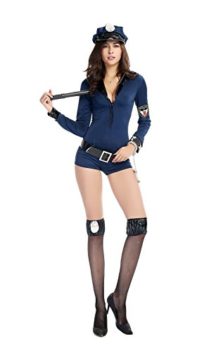 [Bulacker Long Sleeved Blue Jumpsuits Policewoman Role Play Costume Set,Blue,One size] (Cute Easy Group Costumes Ideas)