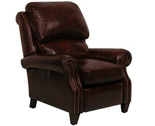 Barcalounger Churchill II Double Fudge Leather Power Recliner Chair 9-4440