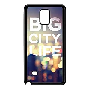 Big City Life Black Hard Plastic Case for Galaxy Note 4 by textGuy + FREE Crystal Clear Screen Protector