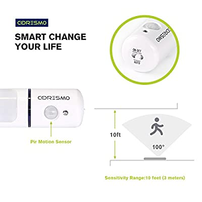 Coresmo Portable Wireless Closet Stick-on Anywhere 5-LED Motion Sensor Night Light Bar Under Cabinet Lighting Lamp (Battery Operated)