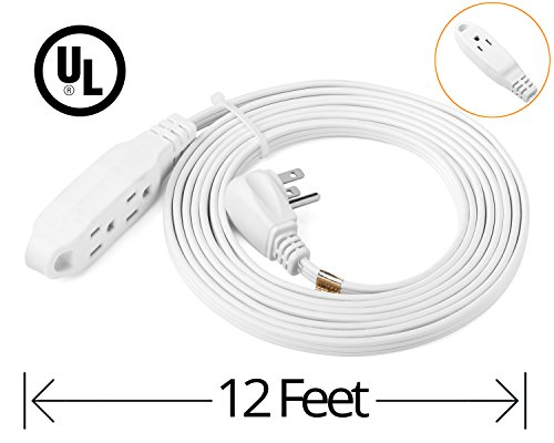 ClearMax 12 Feet 3 Outlet Extension Cord 16AWG Indoor / Outdoor Use - White - UL Listed