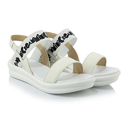 Amoonyfashion Womens Open Teen Pull On Cow Leather Assorted Color Lage Hakken Sandalen Wit