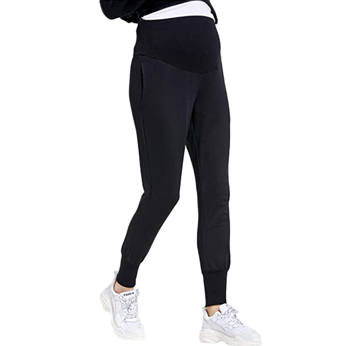 98492243cd2 zenicham Women's Maternity Pants Super Soft Jogger Sweatpants with Pockets