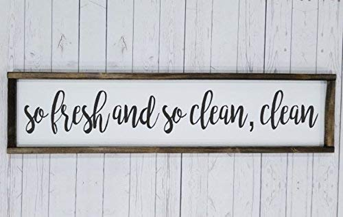 So fresh and so clean clean, long, Farmhouse sign, rustic decor, fixer upper style, bathroom decor art, kid or master bathroom, wash your hands