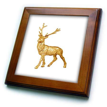 (3dRose Lens Art by Florene - Everything Gold - Image of Gold Glittery Deer with Horns - 8x8 Framed Tile (ft_291034_1))