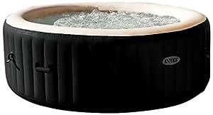 "Intex PureSpa Jet & Bubble Deluxe Portable Hot Tub, Round, 77"", Onyx Black"