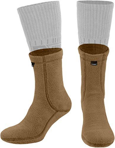 281Z Outdoor Warm Liners Boot Socks - Military Tactical Hiking Sport - Polartec Fleece Winter Socks (Large, Coyote Brown)