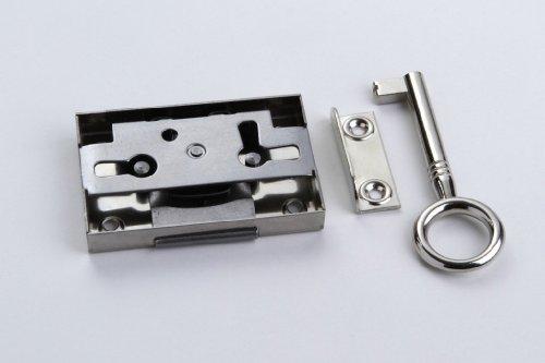 1 Schrankschloss Möbelschloss Aufschraubschloss Metall vernickelt 20mm mit Schlüssel