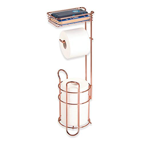 (mDesign Freestanding Metal Wire Toilet Paper Roll Holder Stand and Dispenser with Storage Shelf for Cell, Mobile Phone - Bathroom Storage Organization - Holds 3 Mega Rolls - Rose Gold)