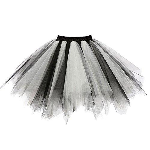 Ellames Women's Vintage 1950s Tutu Petticoat Ballet Bubble Dance Skirt Black-White S/M -