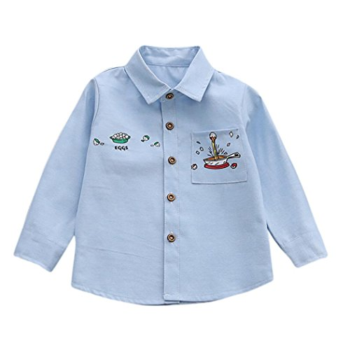 Baby Down Sweater (Fineser Toddler Baby Boys Botton Down Cotton Soft Long Sleeve T-Shirt Tops Outfits Clothes (Blue, 18M))