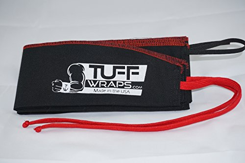 Red/Black Tuffwraps: Wraps for Crossfit, Olympic Weightlifting, Power Lifting. Innovative Thumb Loop for Easy Application.