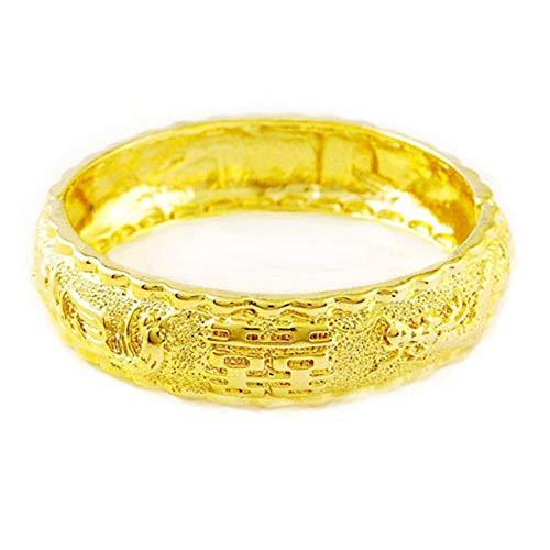 CS-DB 24k Real Yellow Gold Filled Solid Gold Dragon Phoenix Bangle Women's Bracelet Jewelry ()