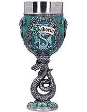 Nemesis Now Harry Potter Slytherin Zweinstein Huis Verzamelbare Goblet, Groen Zilver, 19.5cm