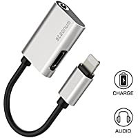 iPhone 7 Headphone AUX Adapter 8 Pin Lightning Charging to 3.5mm Audio Splitter for iPhone 7 7 Plus Compatible with IOS 10.3.3 Silver