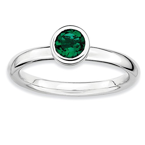 Stackable Expressions Sterling Silver Low 5mm Round Simulated Emerald Ring - Size 6 from Stackable Expressions