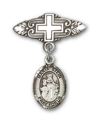 Icecarats Créatrice De Bijoux En Argent Sterling Maria Stein Broche De Badge Charme Avec Une Croix X 3/4