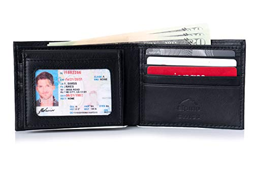 Alpine Swiss Men's 2-In-1 Bi-fold Wallet & Card Case Hunter Alpine Swiss Mens Leather Wallet 2-In-1 Bifold Flip up Removable Card Case Hunter Black