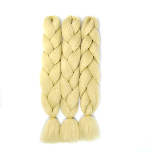 Synthetic Braiding Hair Extensions Ombre Jumbo Braid Twist Hair High Temperature Fiber Hair Extensions 3Pcs 24 inch (Blonde) by braiding hair