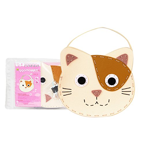 - ggomaART DIY Sewing Kit Kids Do it Yourself Sewing Play Kids Art Craft Sewing Craft Kits Kids Art Education Little Kids - Kitten Handbag