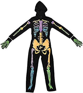 Halloween Jumpsuit with Hooded Gloves for Boys/&Girls LMYOVE Kids Skeleton Costume Glow in The Dark