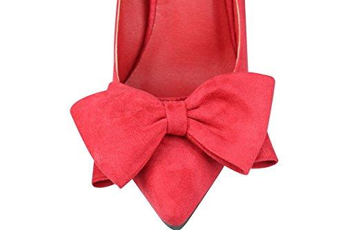 AalarDom Mujer Sin cordones Puntera en Punta Tacón Alto Sintético Sólido De salón Rojo-Nudo