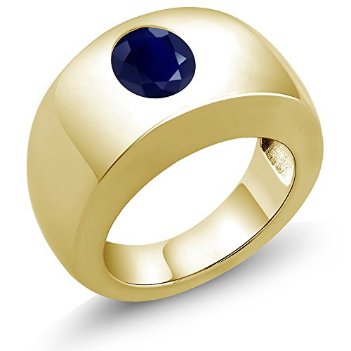 2.50 Ct Oval Blue SI1/SI2 Sapphire 18K Yellow Gold Men's Solitaire Ring
