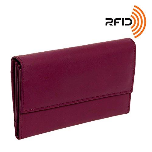 Silver Lilly Women's Genuine Leather Long Purse Clutch Wallet (Plum) - Plum Clutch