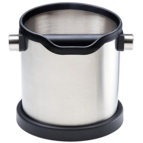 Stainless steel knock box and coffee grind container for portafilter espresso machine. Large shock-absorbent knock bar for easy coffee ground disposal. Silicone cover to protect the filter and kitchen